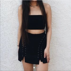 Forever 21 Black Suede Lace Up Skirt